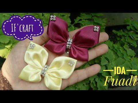 145) DIY || Cara Membuat Bros Kupu-kupu || How to Make Butterflies from Satin Ribbon || Kanzashi