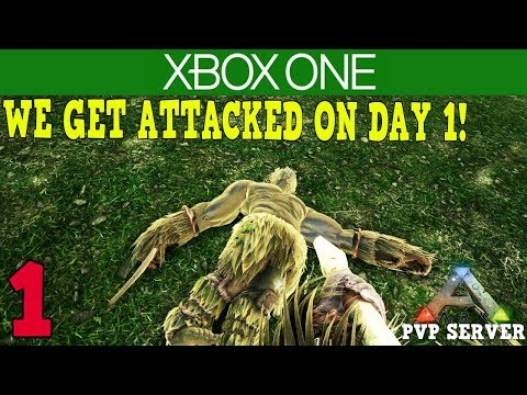 WE GET ATTACKED ON DAY 1! - XBOX ONE ARK PVP SERVER! - ARK SURVIVAL EVOLVED [ 1 ]