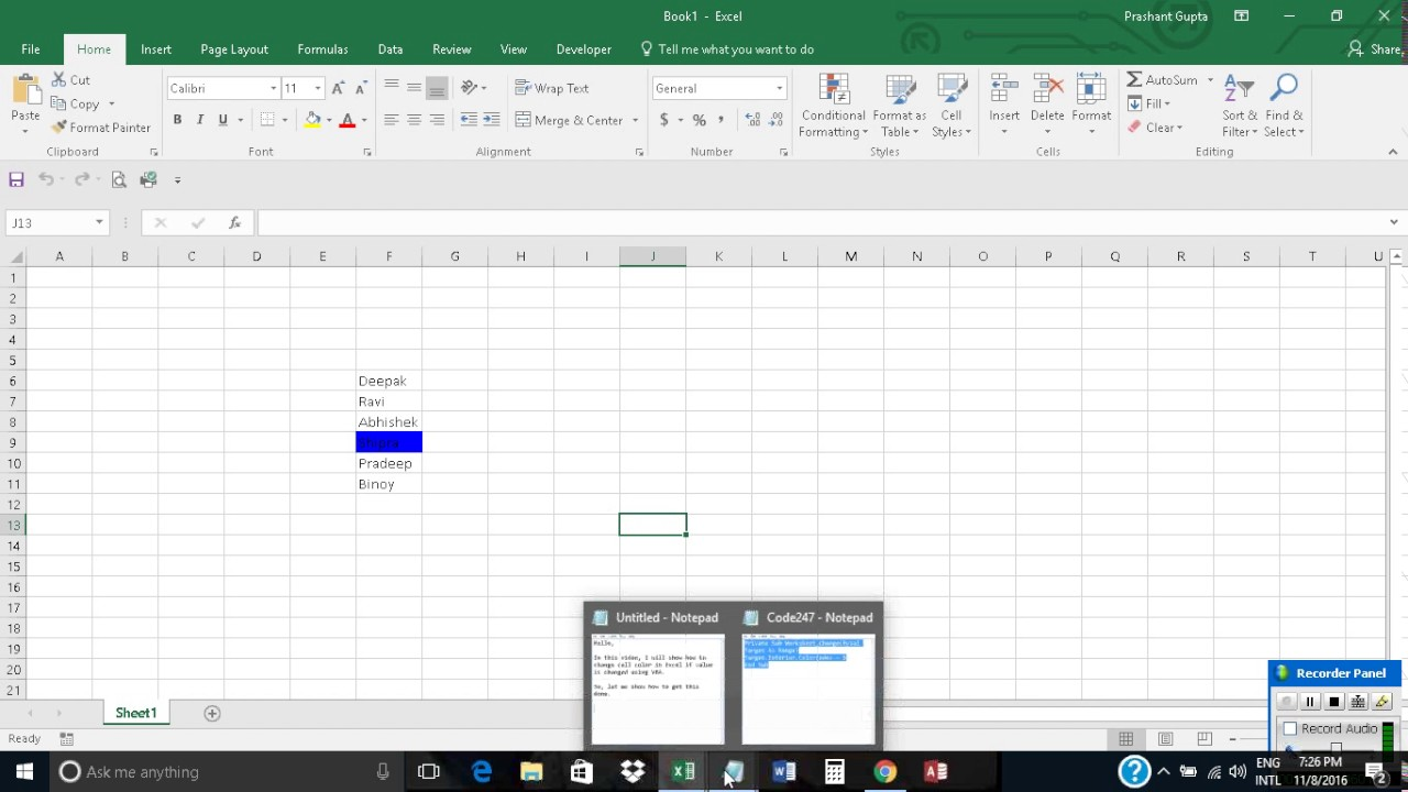 Change Cell Color In Excel If Value Is Changed Using Vba