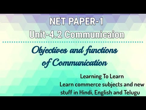 Communication Objectives And Functions Unit-4.2 Paper-1 NET (in Hindi)