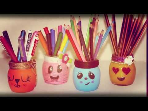 DIY pen & pencil's holder | CUTE and EASY holder's DIY | using Yarns glitters balloons