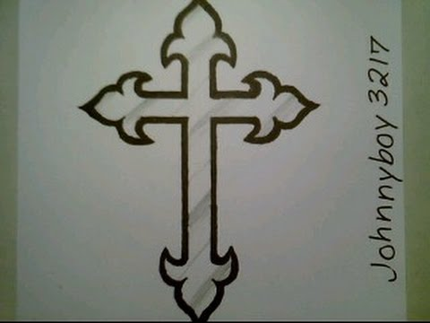 How To Draw Cross Step By Step Crucifix Tattoo For Beginners Kids Children