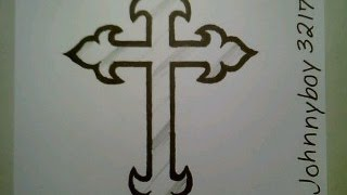 How To Draw A Cross Step By Step Crucifix Tattoo For Beginners Kids Children