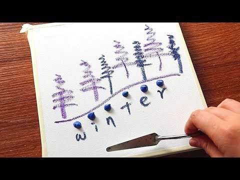 Simple Winter Landscape Acrylic Painting On Canvas Step By Step #247|Satisfying Relaxing