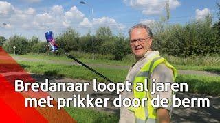 Marco ruimt al jaren met grijper en vuilniszak rotzooi op in Breda.