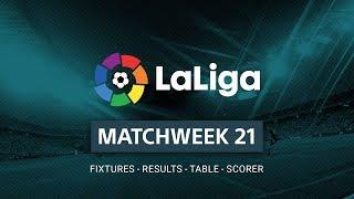 LA LIGA Santander Matchweek 21 - Results - Table - Top Scorers