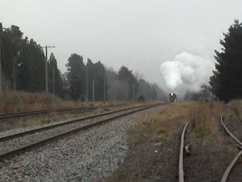 Steam locomotive, moving quickly, big noise.