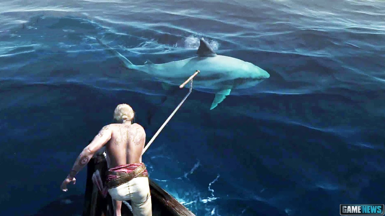 Ps4 assassin 39 s creed 4 shark attack youtube for Ps4 hunting and fishing games