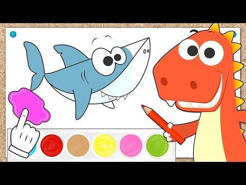 Aprende con Eddie cómo colorear peces 🎨🐟Eddie el dinosaurio colorea tiburón,pez payaso y pez manta