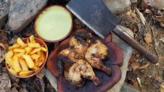 Cooking Whole Chicken on Rock - Primitive Cooking: Pollo de la Brassa con Aji Verde
