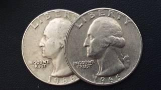 1966 Washington  ERROR (18000$)Quarter US COINS 25 Cents .Монеты США 25 Центов 1966.Qepik
