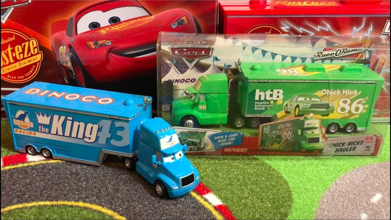 Disney Pixar Cars Lightning McQueen King Chick Hicks Truck Set Toy Car Model