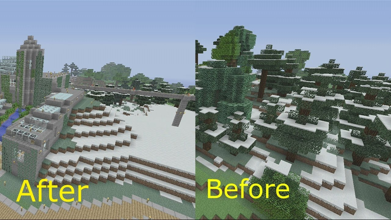 Survival World Tour Minecraft Xbox Before And After Shots - Before and after world