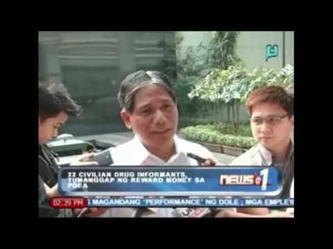 News@1: 22 civilian drug informants, tumanggap ng reward money sa PDEA || Dec. 9, '13