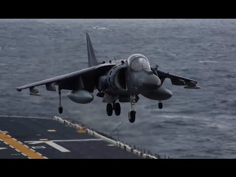 AV-8B Harriers Take off and Land on USS Bonhomme Richard (LHD 6)