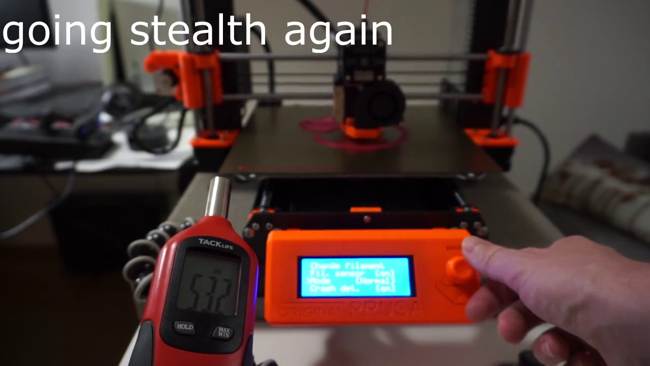 Original Prusa i3 MK3 (pre-assembled) noises, part 2 - with paver and dB  meter