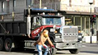 Montreal Black Ford LTL 9000 Dump Truck In Action