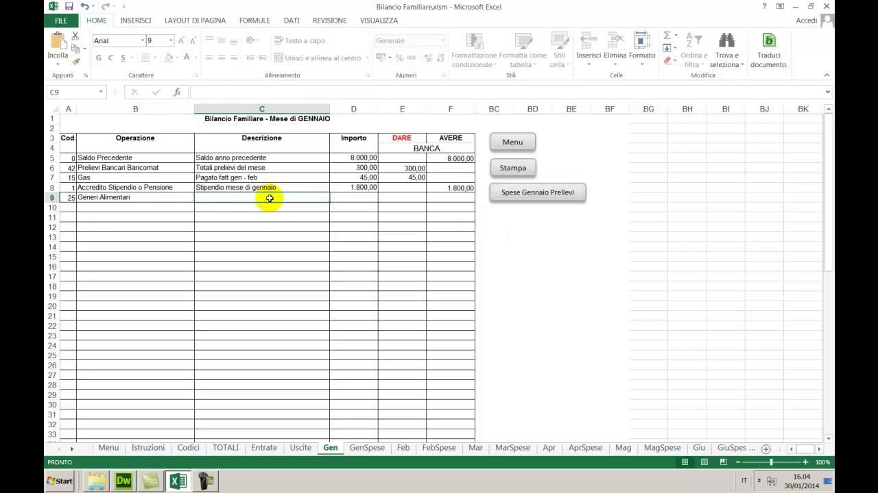 Excel Bilancio Familiare E Gestione Conto Corrente