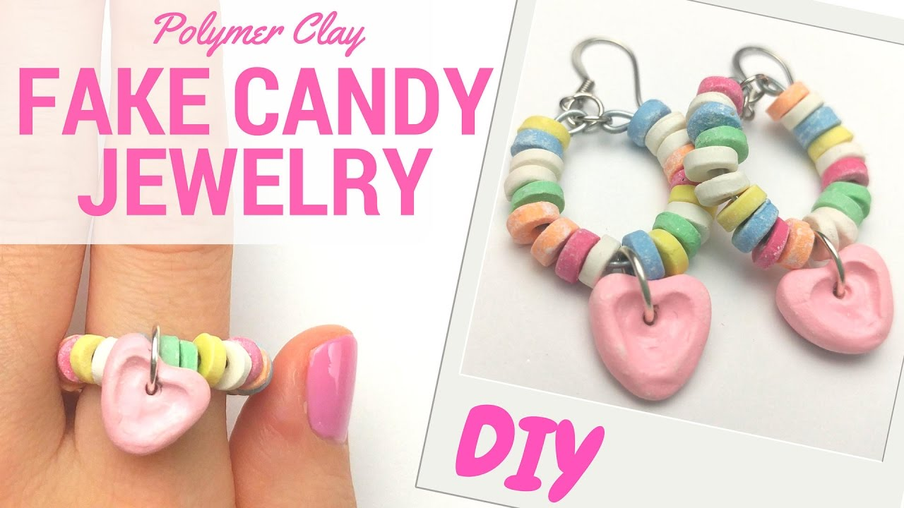 Couleurs variées prix raisonnable prix fou DIY CANDY JEWELRY-candy bracelet-earings and ring-Polymer Clay Tutorial