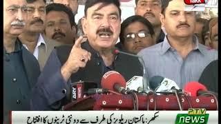 Sheikh Rasheed Talks to Media in Sukkur