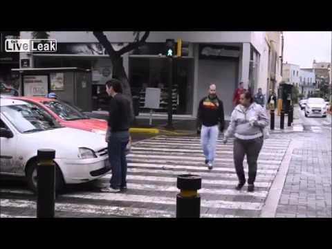 Pedestrian defending his right of way