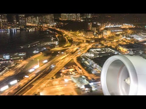 Airbus A350. Night takeoff from Hong Kong Airport. Full Engine and Wing View. Great Sound