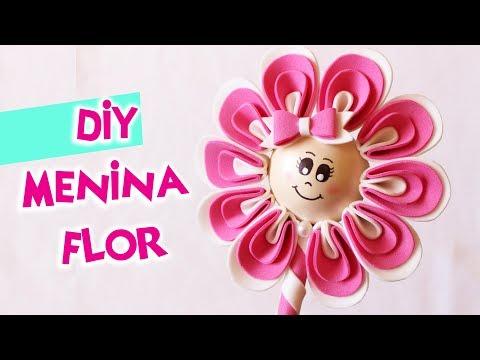 DIY MENINA FLOR DE EVA / COMO FAZER PONTEIRA CANETA FLOR COM EVA   BLOG CRIATIVO