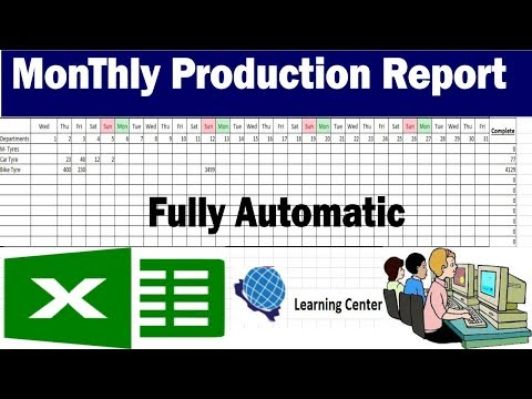 Monthly Production Report in Excel fully automated by learning center in Urdu/HIndi