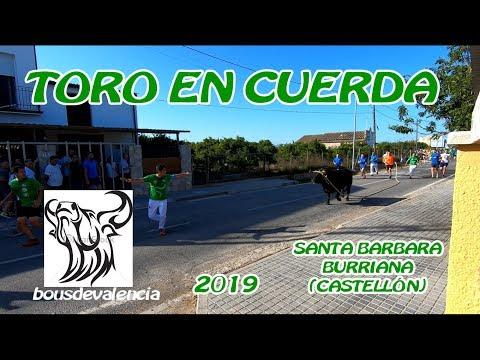 """SANTA BÁRBARA """"BURRIANA"""" (C) 2019 - 4K RESUMEN TORO EN CUERDA HERMANOS CABELLO 29-6-2019"""