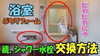 浴室プチリフォーム【鏡、シャワー水栓の交換方法】