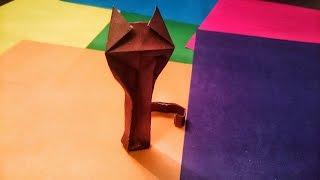Как сделать кошку из бумаги, оригами.