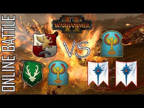 EMPIRE/WOOD/KINGS vs HIGH/TOMB/ELVES! - 3v3 Online Battle Total War: Warhammer 2