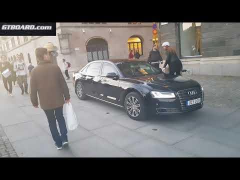 [4k] Sweden's SOCIALISTIC Prime Minister Löfven travels in Audi A8L W12