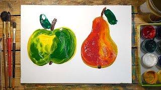 Как нарисовать Яблоко и Грушу | Простые рисунки красками | Урок рисования для детей(РыбаКит - Папа рисует: http://www.youtube.com/ribakit3 Простые рисунки красками - это проще не куда - только кисть и краска!..., 2016-02-21T15:30:01.000Z)