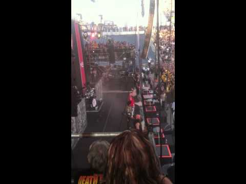 Ivan Moody stops mid song at Rock On The Range 2014 to offer a fair warning to the fellas