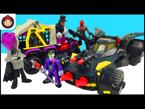 Imaginext Toys Batmobile & Imaginext Penguin 6 Wheeler With Batman Red Hood and Joker