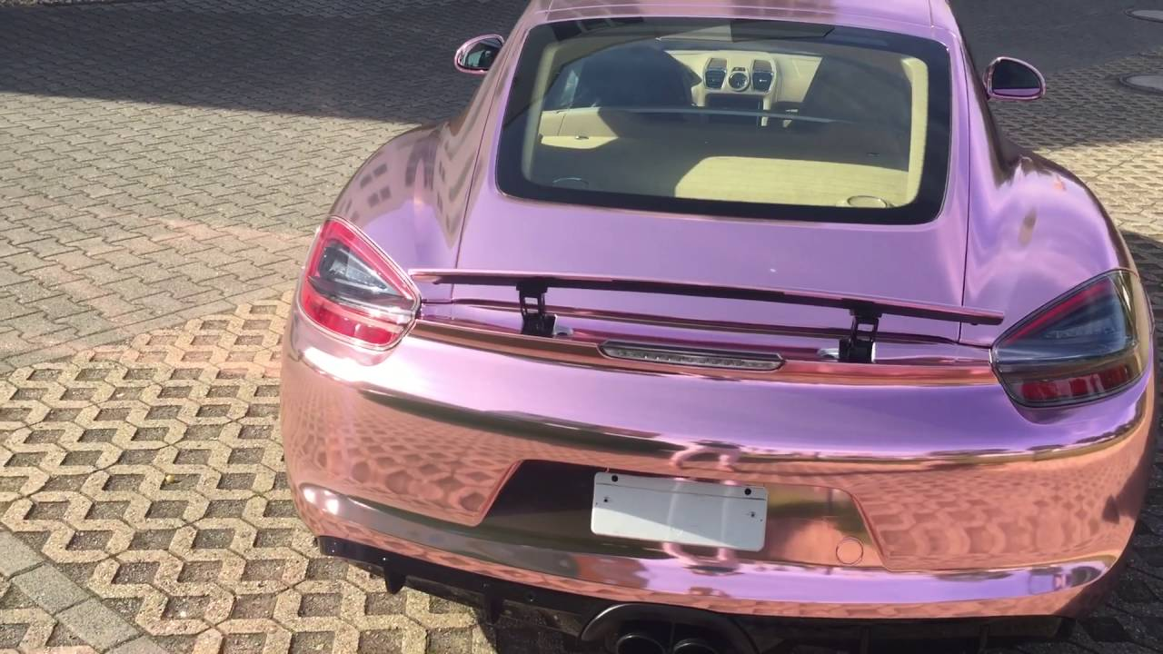 Porsche Cayman GTS foliert in Rosé Gold Chrom - YouTube
