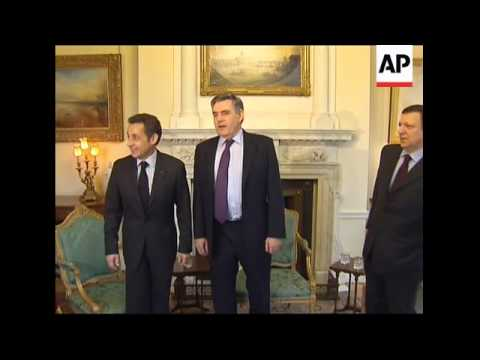 WRAP Sarkozy and Barroso arrive for talks with Brown