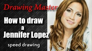 Drawing Jennifer Lopez by Drawing Master colored pencils