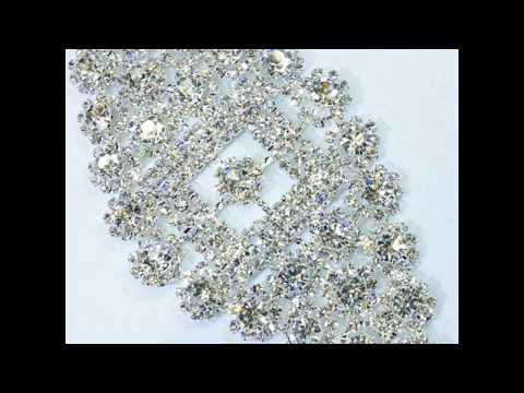 Applique Rhinestone Patch Crystal Silver Base Sew on Wedding Dress DIY Bridal