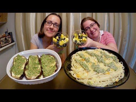 Homemade Pesto Linguine And Pesto Eggplants | Gay Family Mukbang (먹방) - Eating Show