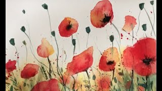 Poppy Watercolour Painting  With Top Tips and Painting Advice