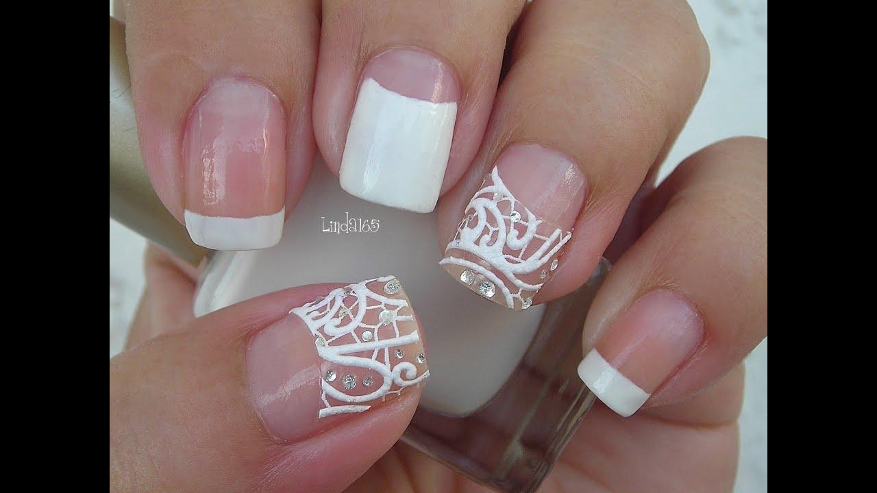 Nail art easy bridal nails with nail strips decoracion - Decoracion para unas ...