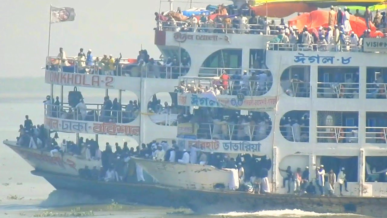 হাজার হাজার যাত্রী নিয়ে মাঝ নদীতে ঈগল-৮ ও কীর্তনখোলা-২ লঞ্চের গতিযুদ্ধ   Speedy Launch Race Video