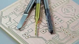 Usinagem de placa de circuito impresso com fresa Vbit de 90 graus, Fresa para PCB