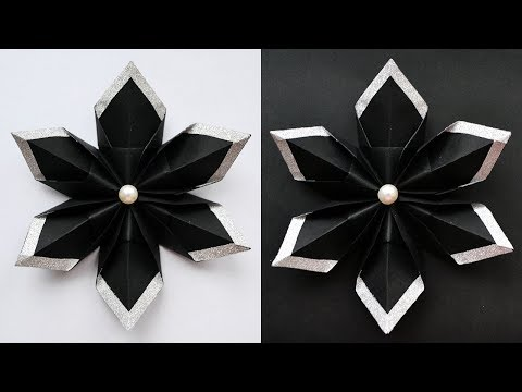 Amazing Paper Black & Silver FLOWER | Modular Origami Tutorial DIY