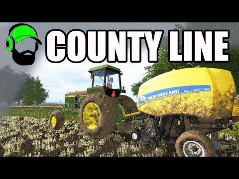Farming Simulator 17 - County Line - Baling our Barley straw #FS17