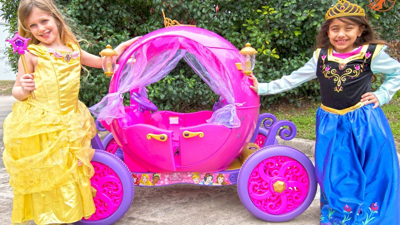 Ride On Princess Carriage - Pink Car for Girls Unboxing and Riding
