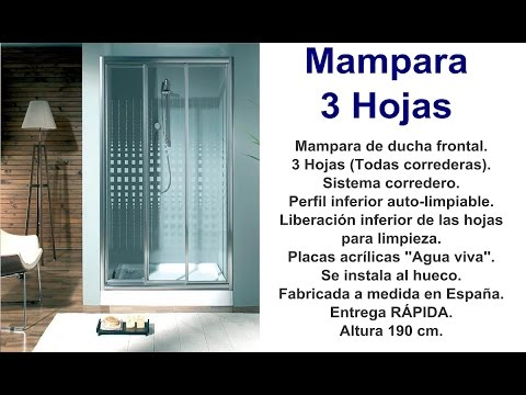 Mampara 3 puertas correderas youtube for Herrajes para mamparas ducha