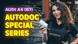 gasoline Fuel Filter change on AUDI A4 (8EC, B7) - video instructions